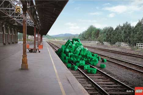 Lego on the tracks at a train station