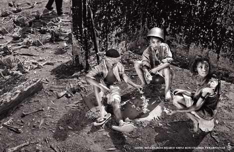 Child soldiers playing a game using bones in Amnesty International print campaign
