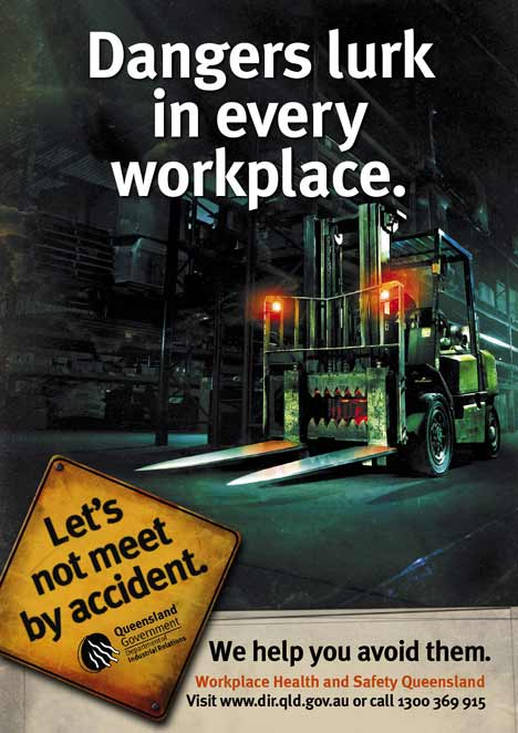 Forklift becomes a menace in workplace print ad