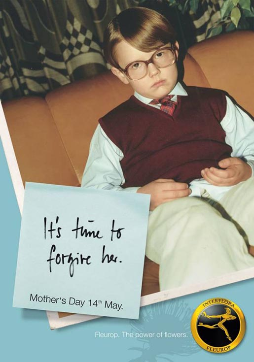 Child in Glasses for Fleurop Interflora Mothers Day print advertisement