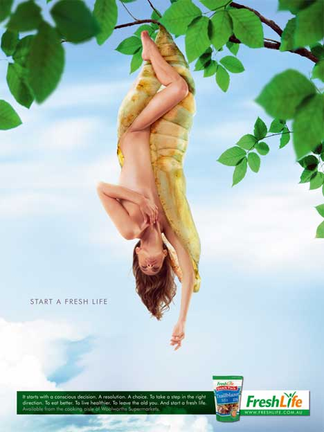 Woman suspended from cocoon in Fresh  Life print ad