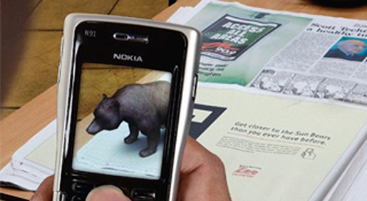 Augmented Reality Bear in Wellington Zoo newspaper ad