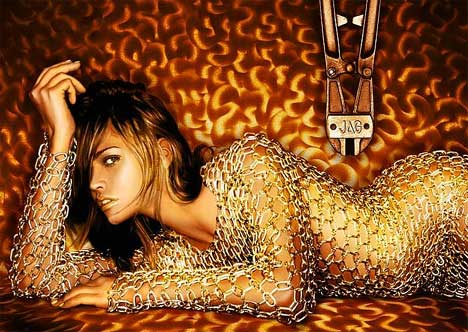 Woman in chains for Jag print advertisement