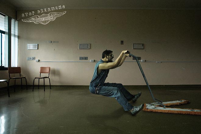 Janitor in Harley print ad