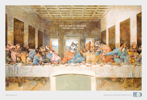 Abandoned Dogs in Last Supper print advertisement