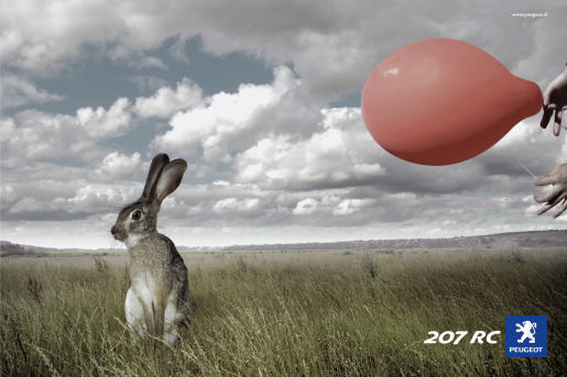 Peugeot print advertisement featuring accelerated rabbit