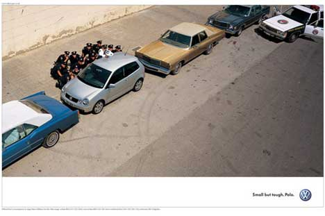 VW Polo print ad with cops
