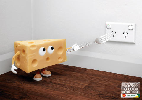 Cheese about to stick fork into electric socket