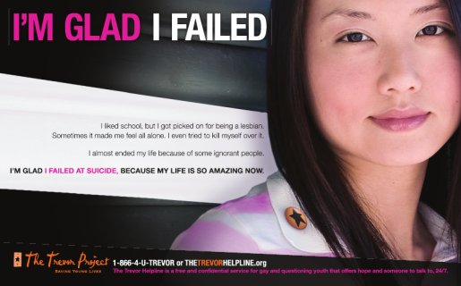 I'm Glad I Failed - Trevor Project print advertisement