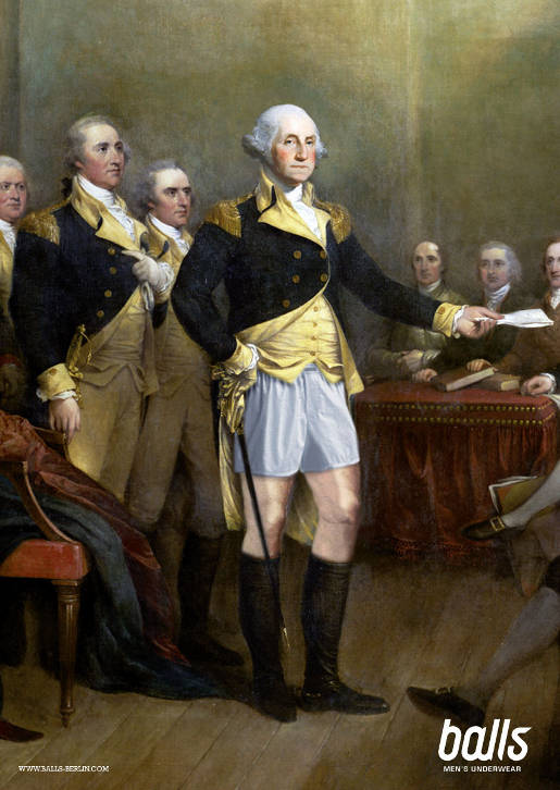 George Washington with Balls Underwear
