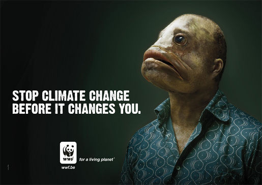 WWF Stop Climate Change Fish Man