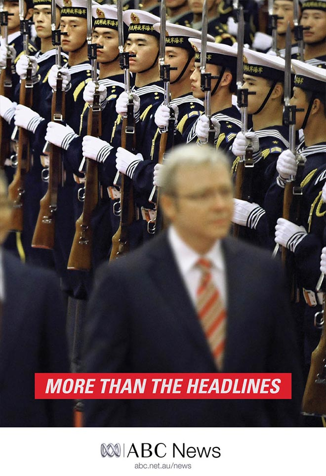Kevin Rudd and soldiers in ABC News print advertisement