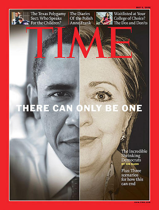 Time magazine cover featuring Barack Obama and Hillary Clinton