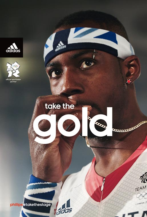 Adidas Take The Gold print ad with Phillips Idowu