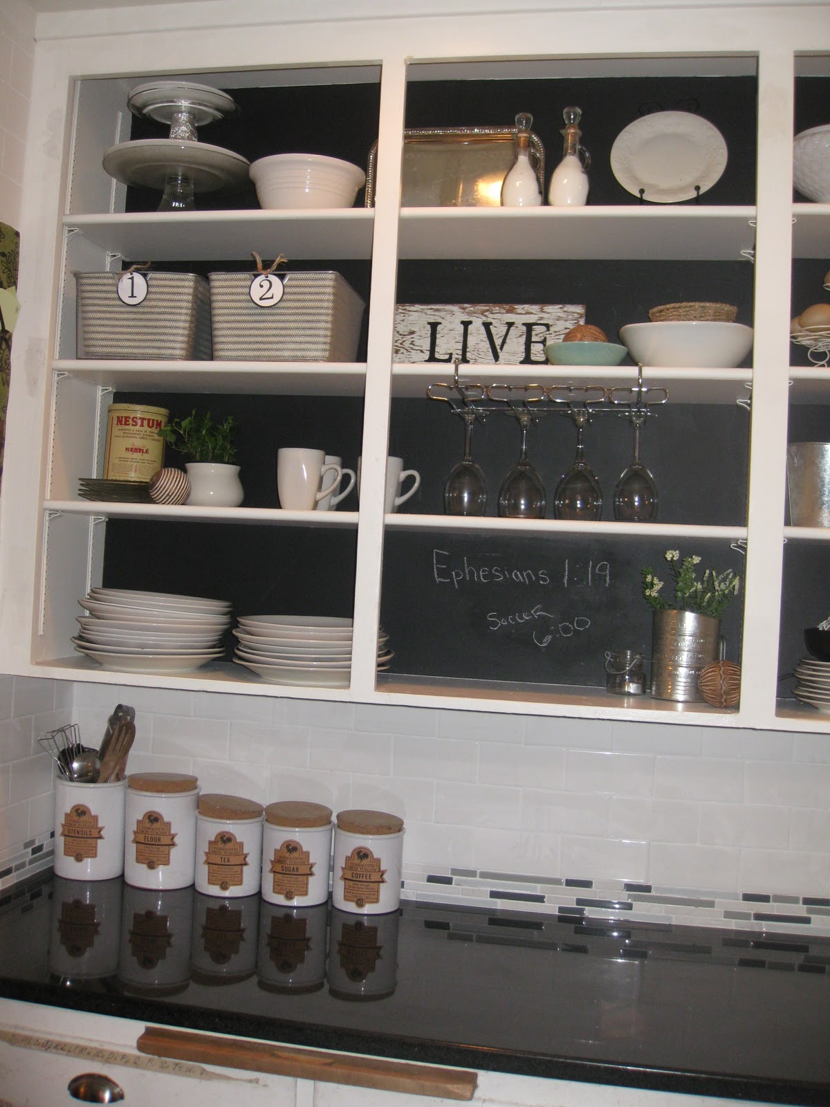 Open Shelving Kitchen Cabinets Diy Chalkboard Cabinets Creatively Living Outside The Box