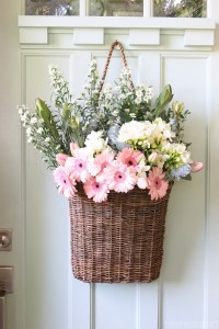 Fresh Cut Spring Flowers in a Door Basket - The Inspired Room