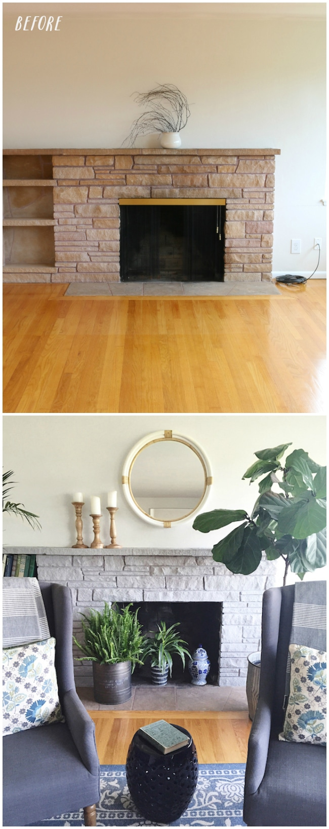 Painted Stone Fireplace Makeover The Inspired Room