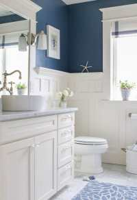 5 Navy & White Bathrooms - The Inspired Room