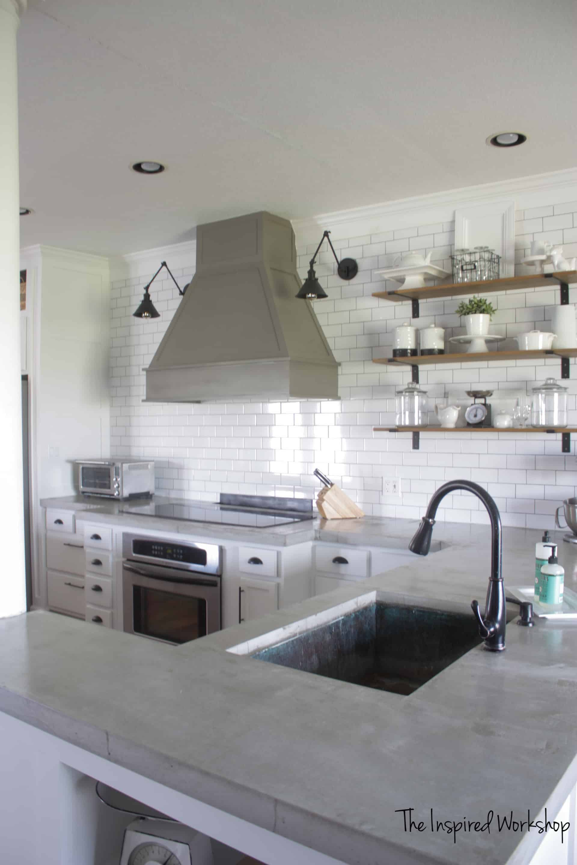 Making Your Own Concrete Countertop Pour In Place Concrete Countertops The Inspired Workshop