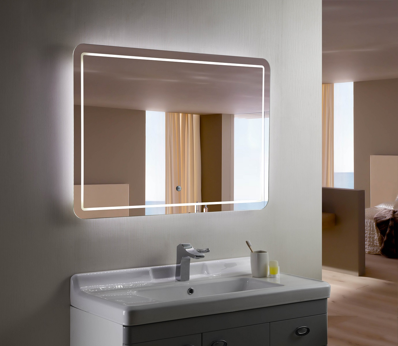 Bathroom Mirrors With Led Lights Sale Bellagio Ii Backlit Mirror Led Bathroom Mirror Horizontal