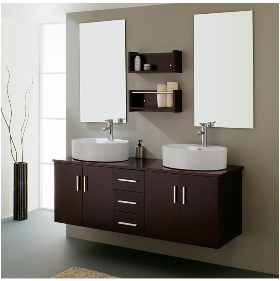 Two Sink Vanities Modern Bathroom Double Sink Home Decorating Ideas