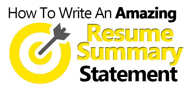 resume summary examples beginning