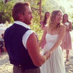 At our wedding in Maun in 2012, where The Island dream was finally born