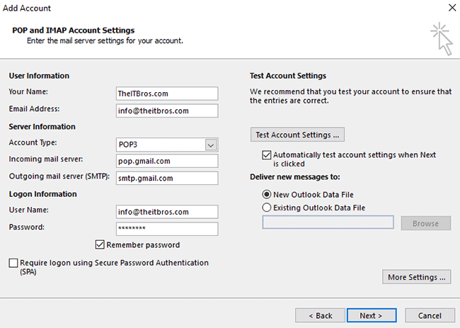 gmail pop settings outlook 2019