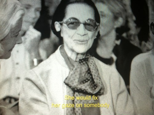 Diana Vreeland fixing her gaze