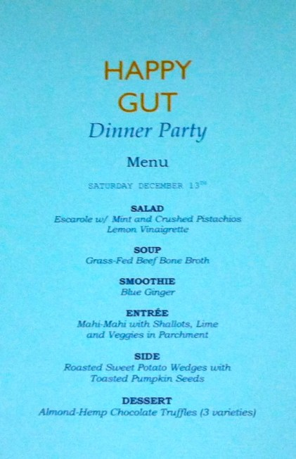 Happy Gut Dinner menu