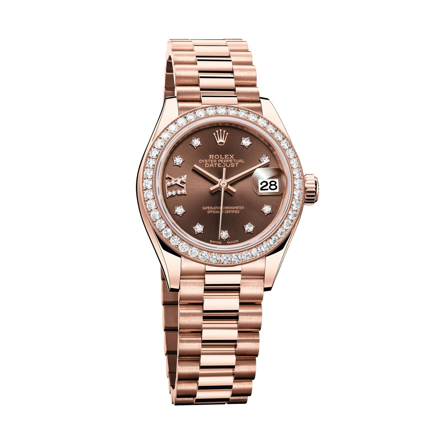 Rolex Oyster Perpetual Rose Gold Oyster Perpetual Lady Datejust 28mm Watch In Everose Gold With Diamonds