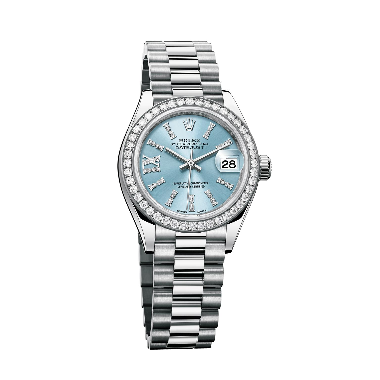Rolex Ladies Watches Oyster Perpetual Lady Datejust 28mm Watch In Platinum
