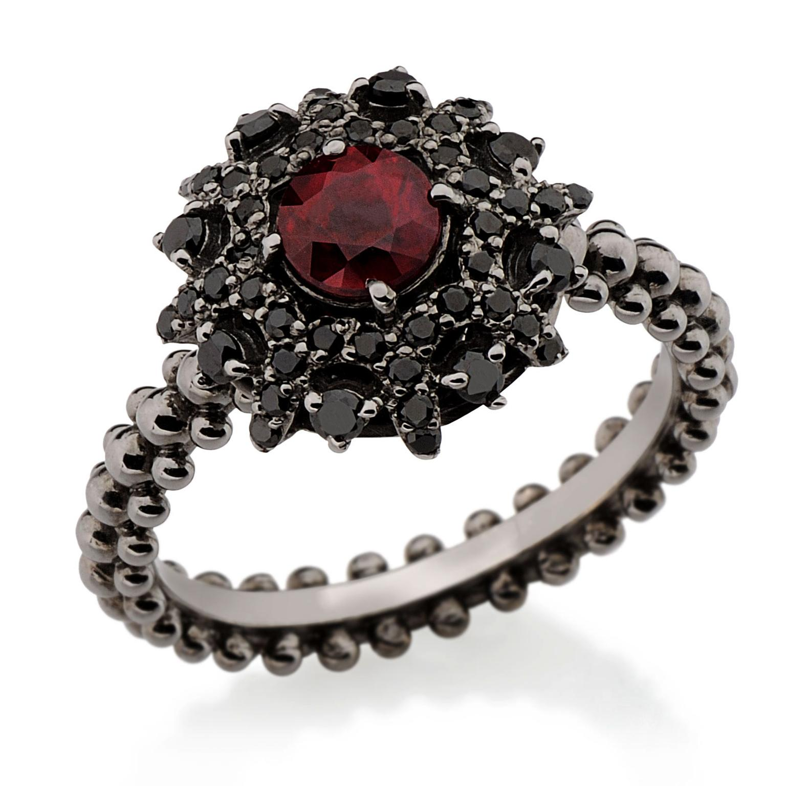 Black Diamond Bachiana Ruby And Black Diamond Engagement Ring
