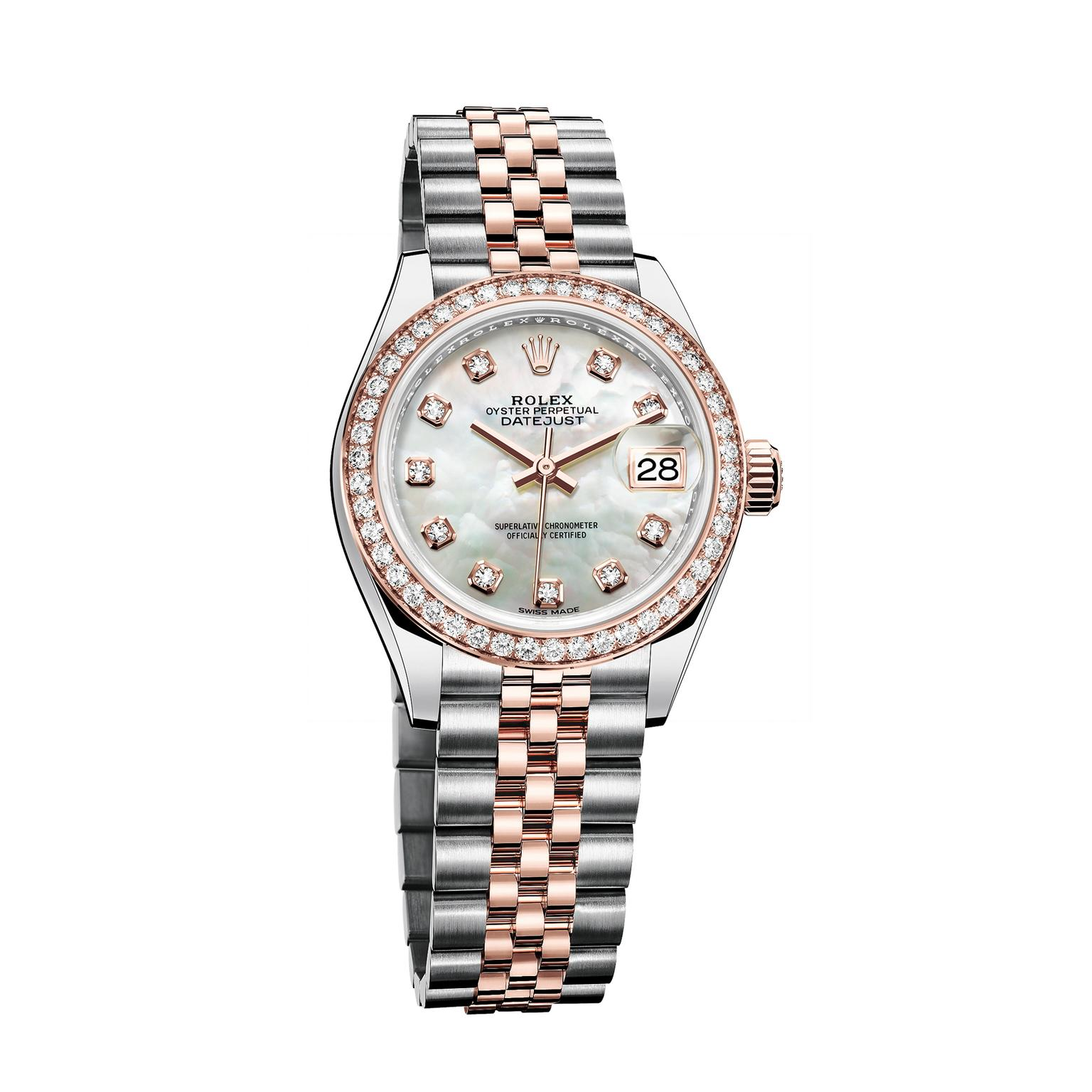 Rolex Oyster Perpetual Rose Gold Oyster Perpetual Lady Datejust 28mm Watch In Everose Rolesor