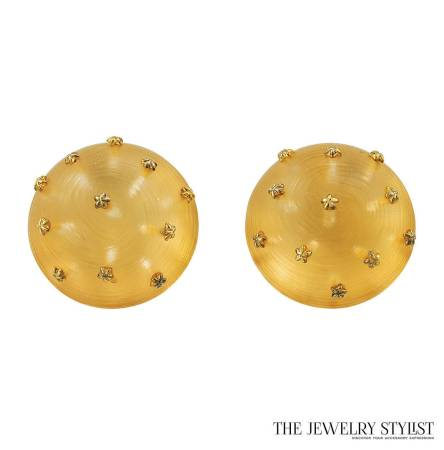 Alexis Bittar Earrings Domed Amber-Colored Transparent Resin Infused with Goldtone Star-shaped Studs
