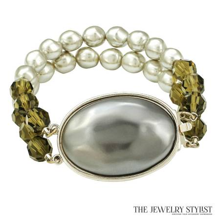 Vintage YSL Crystal and Faux Mabe Pearl Bracelet