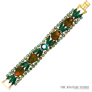 Emerald Green Rhinestone and Variegated Molded Glass Bracelet