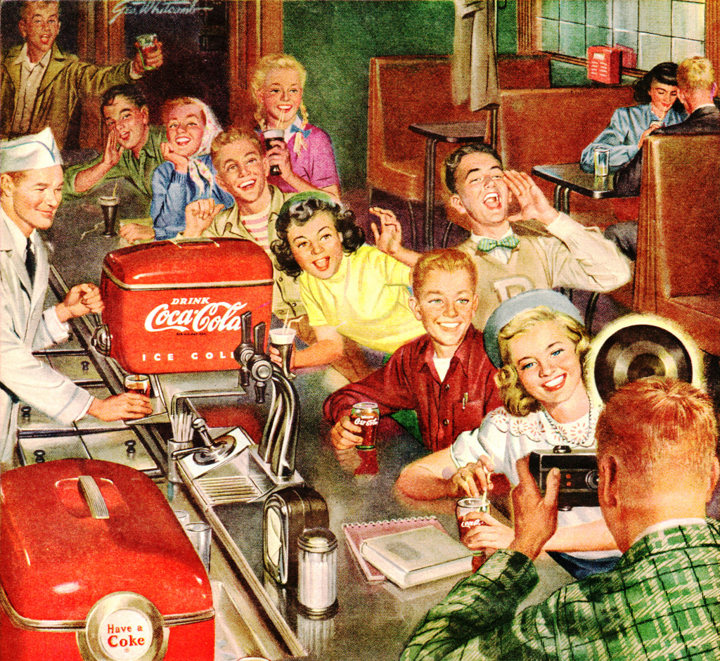 Piece Ad 1950 Coca Cola Ad Jigsaw Puzzle In People Puzzles On