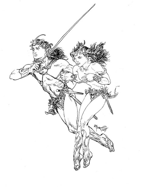 A Princess Of Mars - John Carter & Dejah Thoris by Michael Kaluta