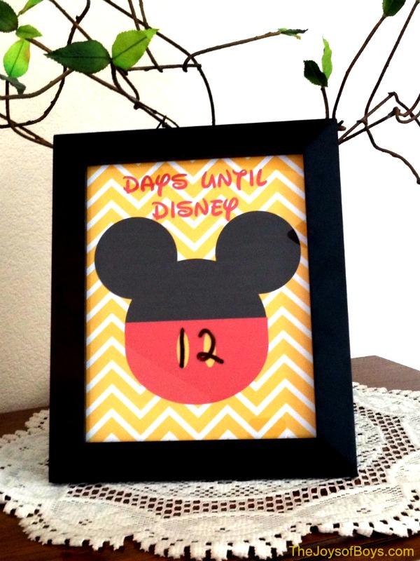 Days Until Disney Countdown - Free Printable - The Joys of Boys