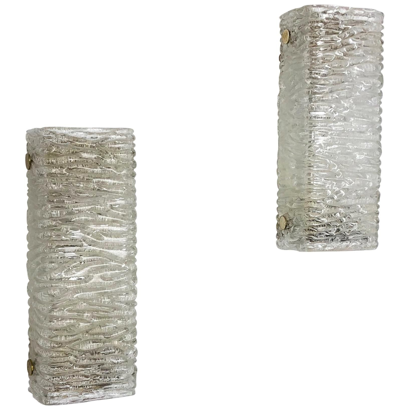 Leuchten Kaiser Set Of 2 Vintage 1960s Ice Glass Metal Wall Light By Kaiser Leuchten, Germany - For Sale | The Kairos Collective Uk