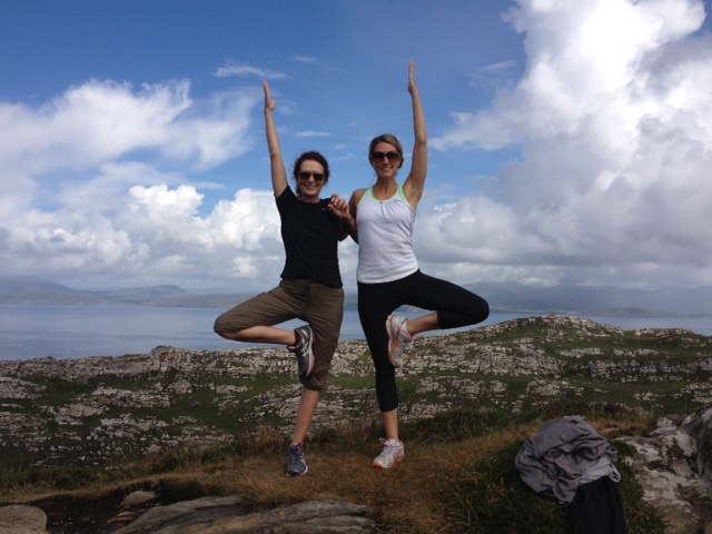 My mom the real yoga person. Me pretending. Ireland 2013.