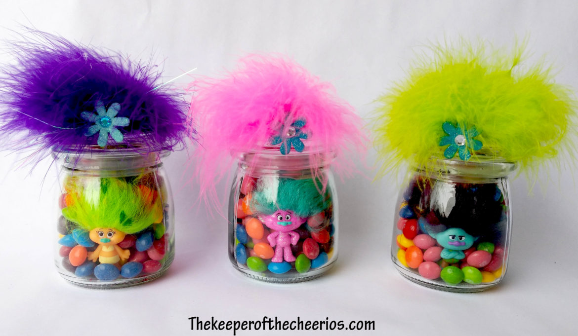 Wine Glasses Trolls Party Favor Treat Jars - The Keeper Of The Cheerios