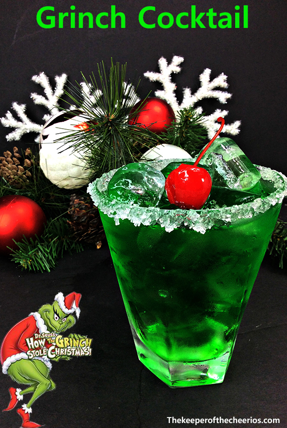 Drinking Wine In Grinch Cocktail - The Keeper Of The Cheerios