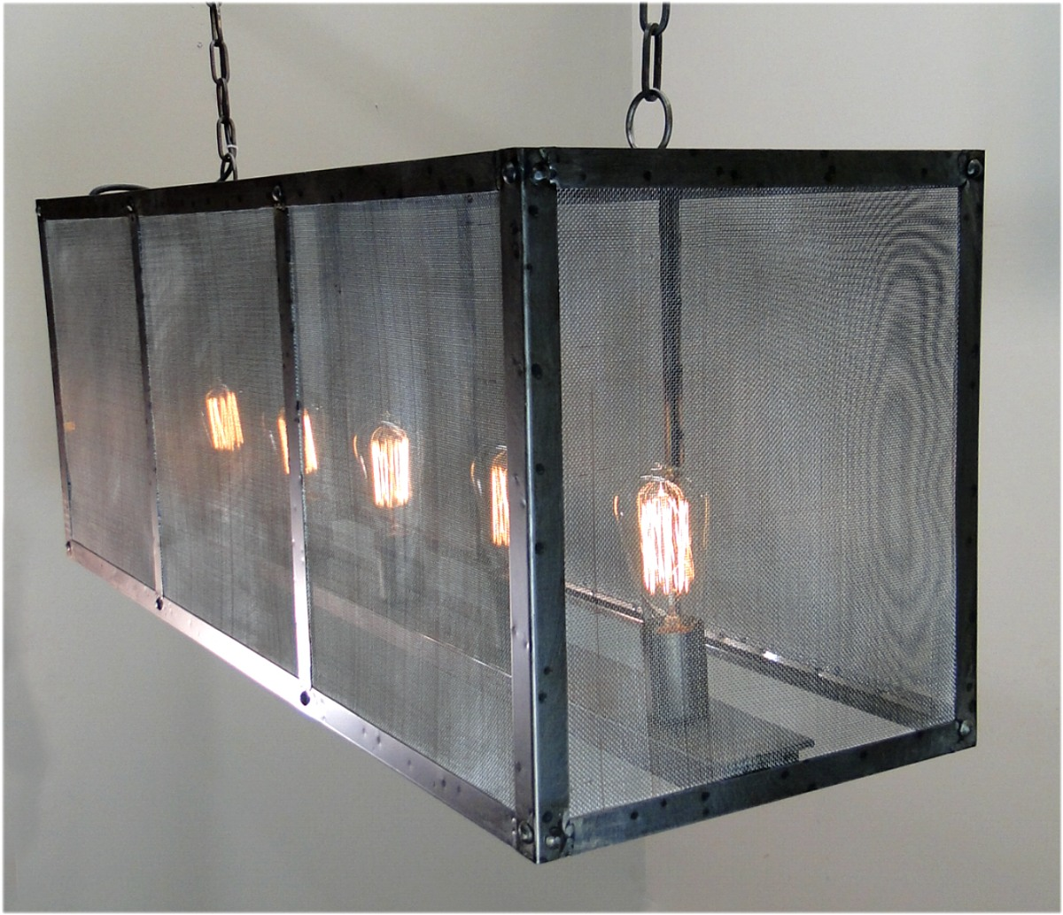 Wrought Iron Rectangular Chandelier Rectangular Screen Iron Chandelier Hand Made Ceiling