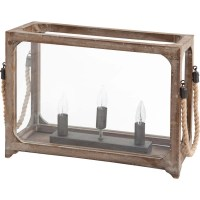 Three bulb Table Lamp with wood frame glass walls ...