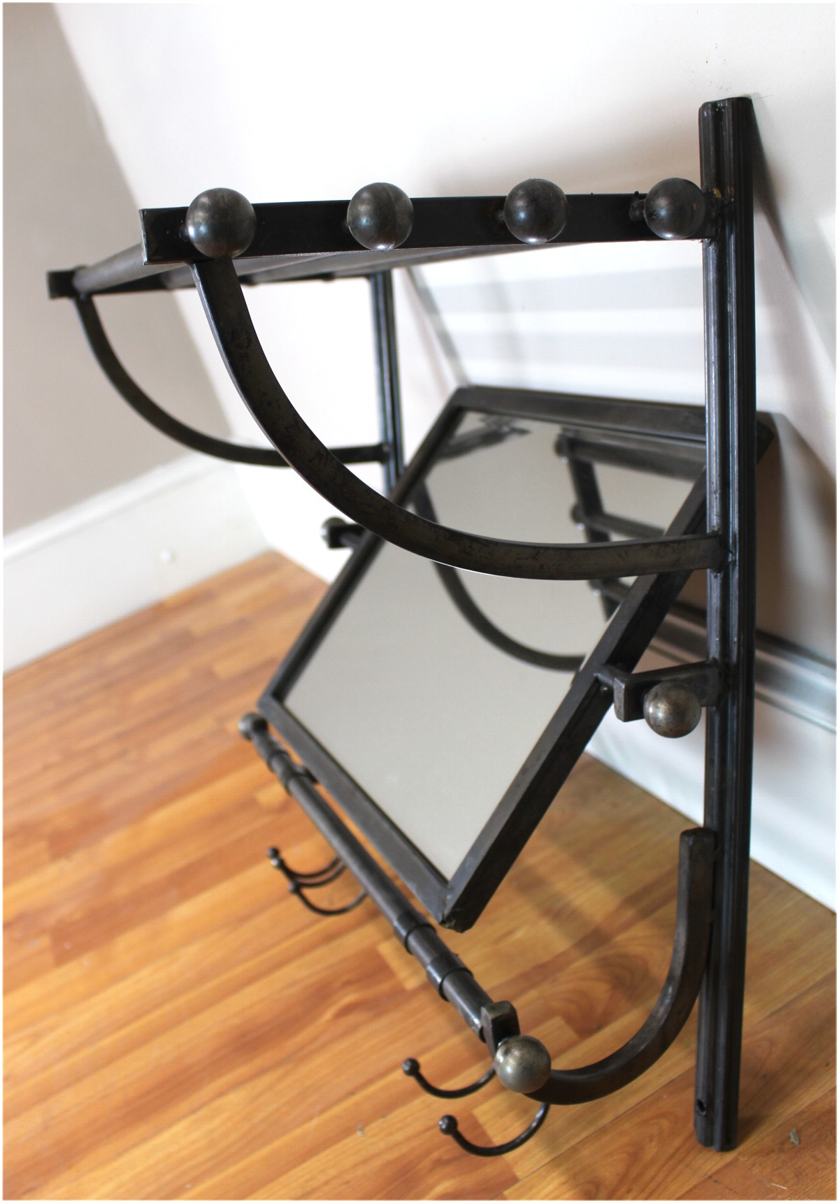Metal Wall Mirror With Shelf Train Rack Style Wall Shelf With Hooks And Swivel Beveled