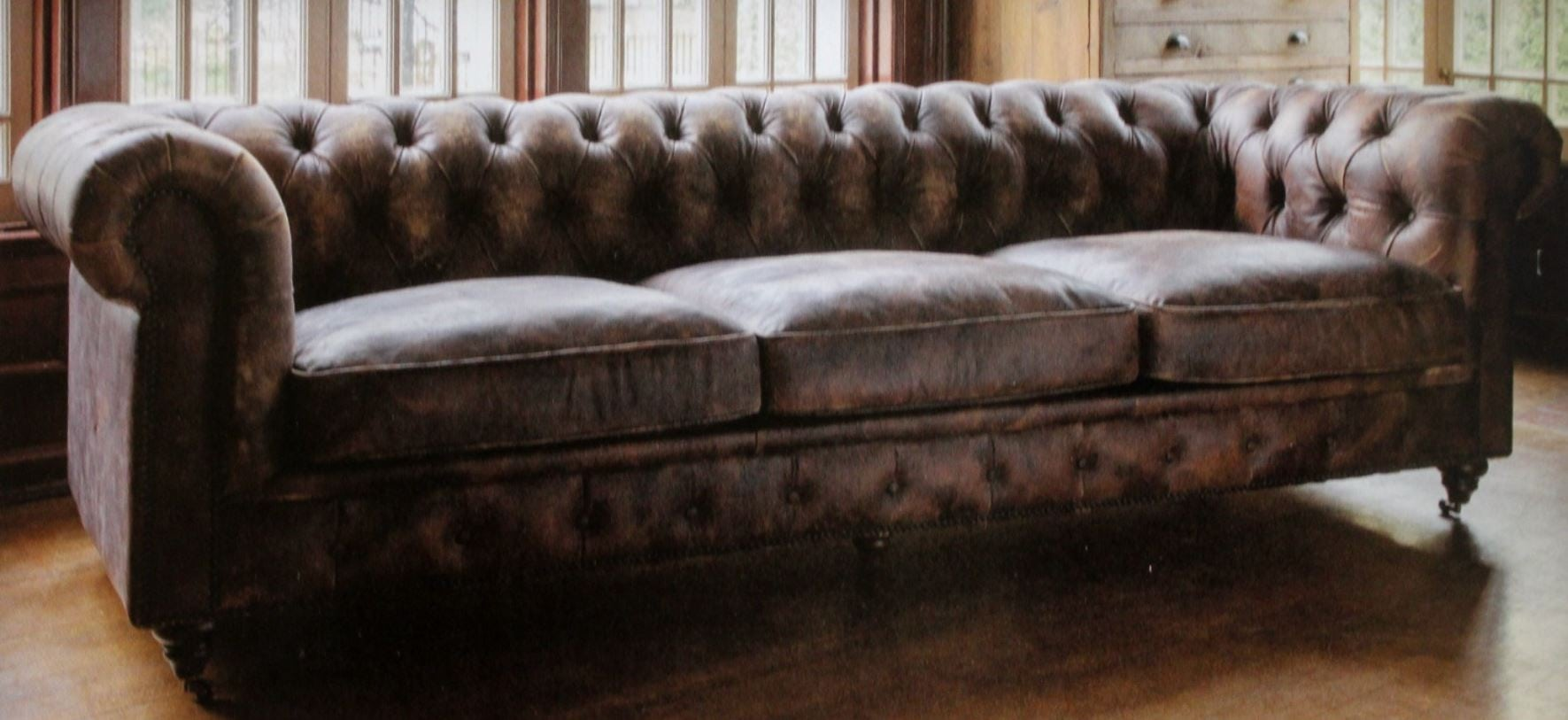 Brown Real Leather Couch Extra Long Aged Leather Couch With Restoration Style Brass Hardware Feet 96 Inch