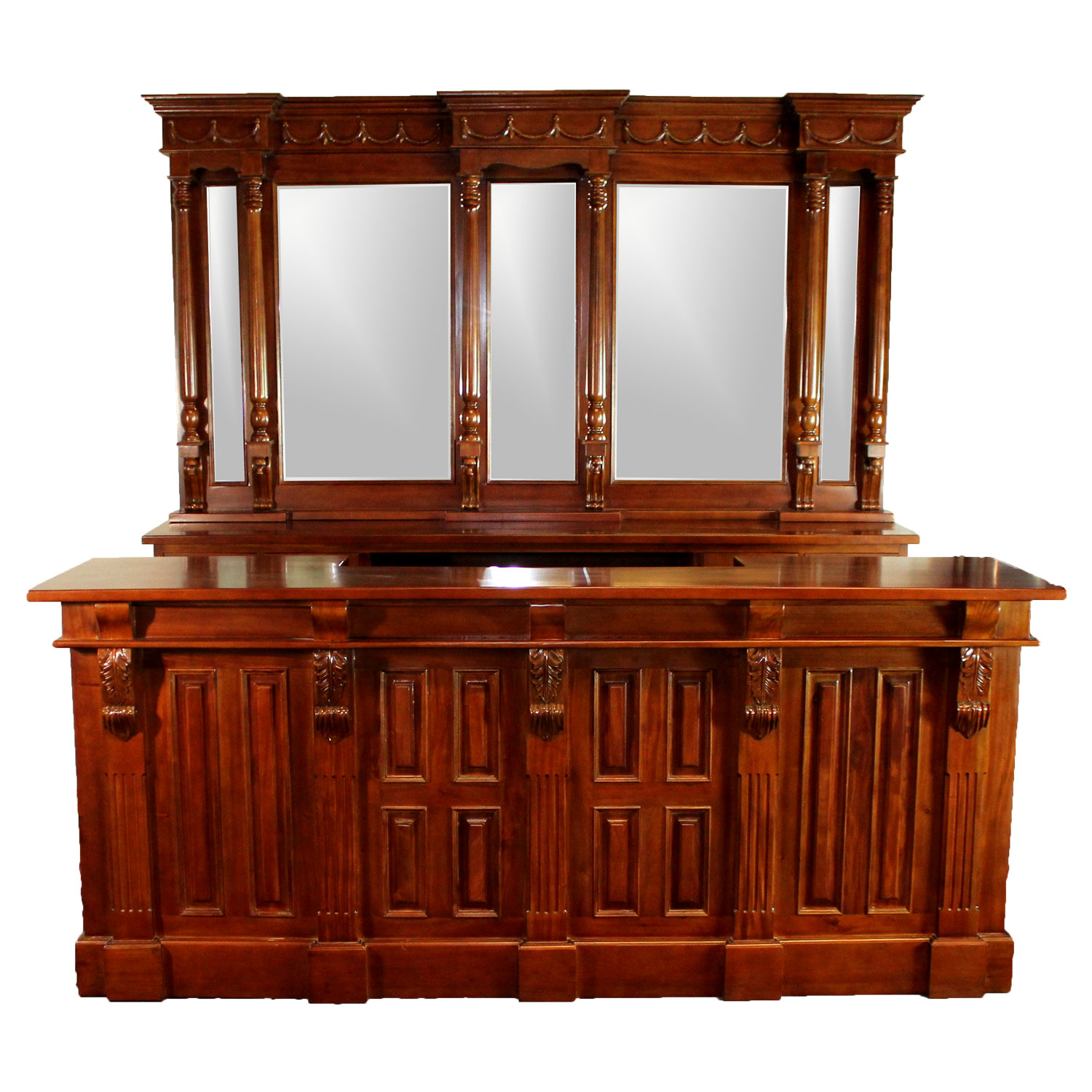 Home Bar Furniture 8 Ft Front Back Home Bar Antique Replica Mahogany Wine Shop Counter Victorian