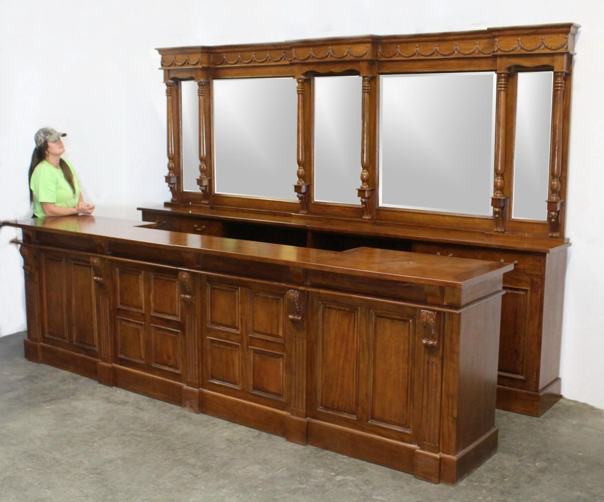 Bar Höhe 12 Ft Victorian Home Bar In Mahogany W Mirrors Back Front Pub Wine Store Counter